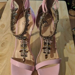 Madison by ShoeDazzle Beaded Pink Heeled Sandal 9m